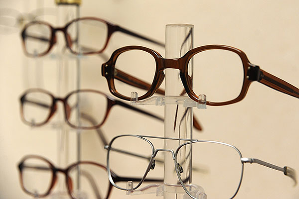 Glasses are on display at the 628th Medical Group Optometry Clinic at Joint Base Charleston-Air Base. (U.S. Air Force/ A1C Ashlee Galloway)
