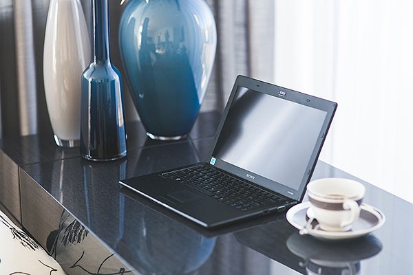 home office with a laptop