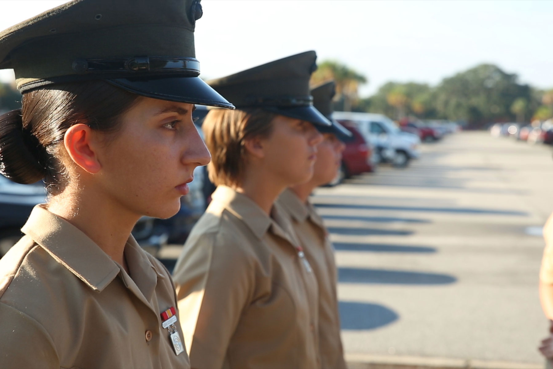 Pfc. Amanda H. Issa prepares for a graduation ceremony Sept. 30, 2016, on Parris Island, S.C. Issa, 21, from Madison Heights, Mich., grew up in Mosul, Iraq, and moved to the U.S. in May 2011. (Photo: U.S. Marine Corps/Carlin Warren)