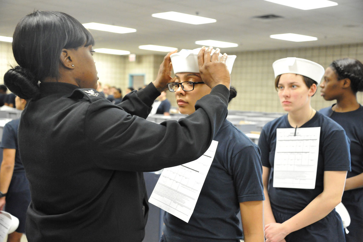 female navy recruits get first 'dixie cup' hats at boot camp