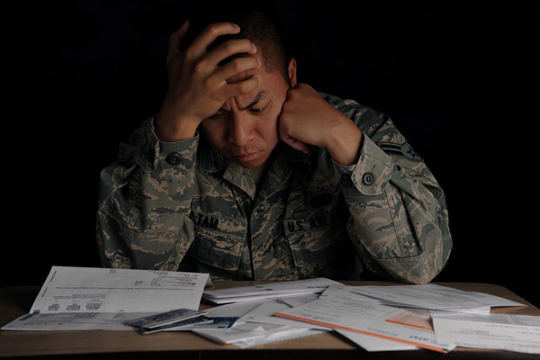 Servicemember stressed about finances.