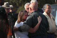 Pastor Frank Pomeroy hugs his wife Sherri near his First Baptist Church of Sutherland Springs on November 6, 2017 in Sutherland Springs, Texas. (Scott Olson/Getty Images) -- Getty Images